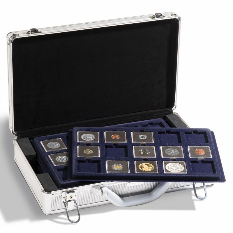 Чемодан (кейс) с планшетами Q50 для монет в капсулах Quadrum и холдерах, Leuchtturm KO3
