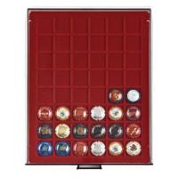 Бокс монетный c планшетом на 48 ячеек 30x30 мм для капсул от шампанского. Lindner