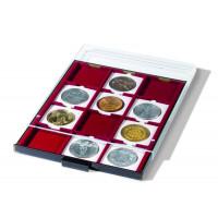 Бокс монетный c планшетом на 12 ячеек 67х67 мм. Leuchtturm MBQ67 для монет в капсулах QuadrumXL
