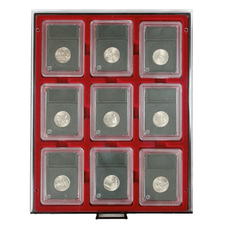 Бокс монетный c планшетом на 9 ячеек 64x86 мм для монет в слабах. Lindner