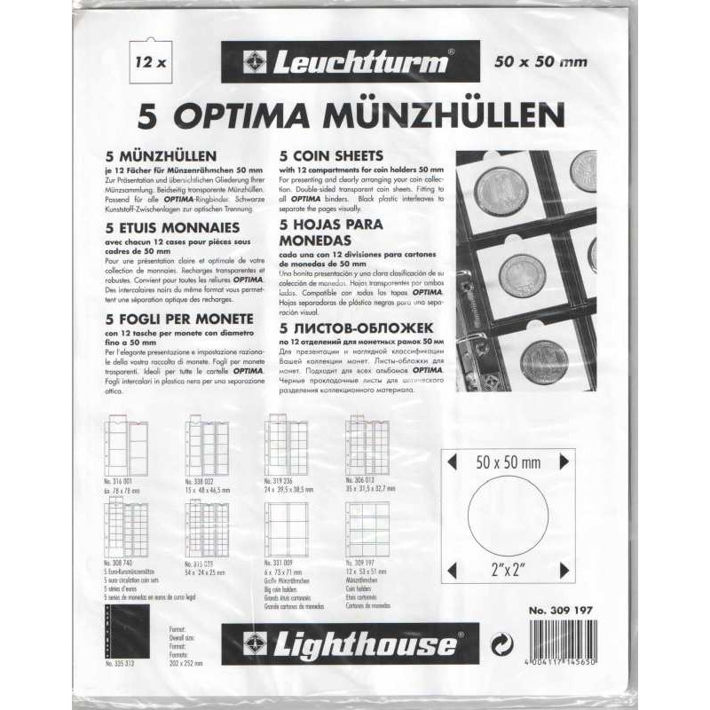 Лист для 12 монет в холдерах 50х50 мм, Optima M12K, Leuchtturm