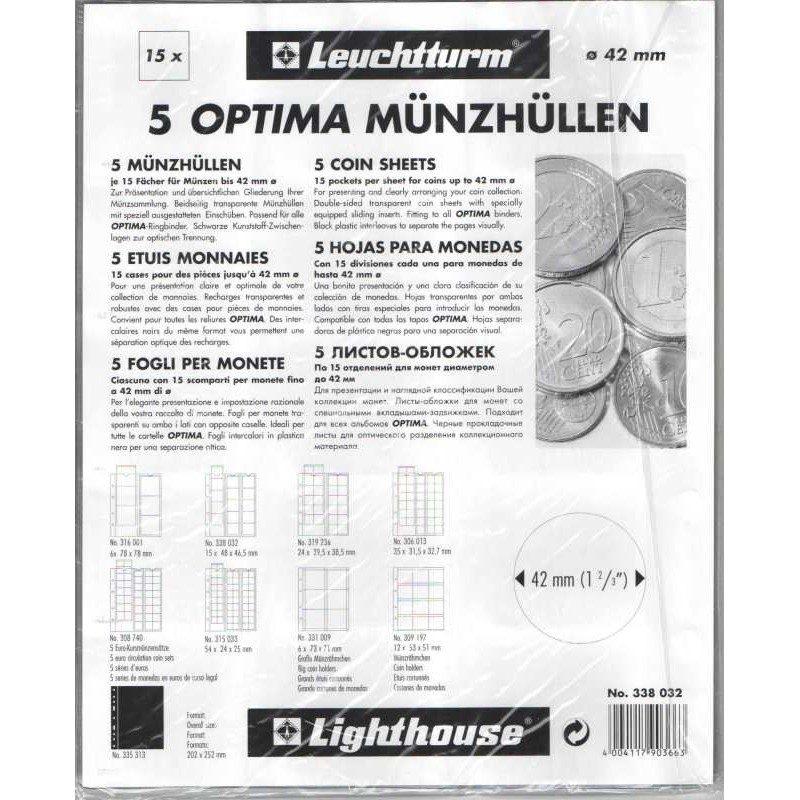 Лист для 15 монет до 42 мм, Optima M15, Leuchtturm