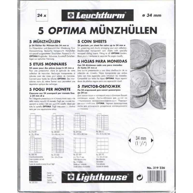 Лист для 24 монет до 34 мм, Optima M24, Leuchtturm