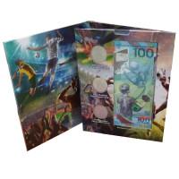 3 монеты и банкнота 100 рублей FIFA в капсульном альбоме