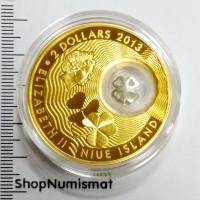 2 доллара 2013 Черырехлистный Клевер, Ниуэ, Proof (unc) в футляре