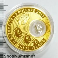 2 доллара 2013 Слон, Ниуэ, Proof (unc) в футляре