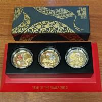 Набор 3 монеты 500 франков 2013 Год Змеи. Руанда. UNC [386]