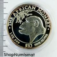 10 долларов 1998 Африканская обезьяна, Сомали, Proof (Aunc) [49]