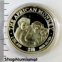 10 долларов 2000 Африканские обезьяны - Шимпанзе, Сомали, Proof (Aunc) [51]