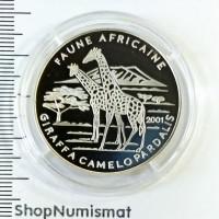 1000 франков 2001Фауна Африки - Жирафы, Чад, Proof (Aunc) [73]